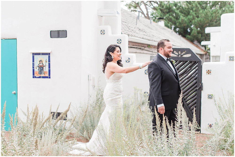 El Ray Court Wedding. El Ray Court Santa Fe. Santa Fe Wedding. Santa Fe Wedding Photographer. New Mexico Wedding. New Mexico Wedding Photographer. Lace Wedding Dress. Strapless Wedding Dress. First Look Pictures. Vintage Wedding Dress. Classic Bride. Glam Bride. Elegant Bride. Vintage Bride.