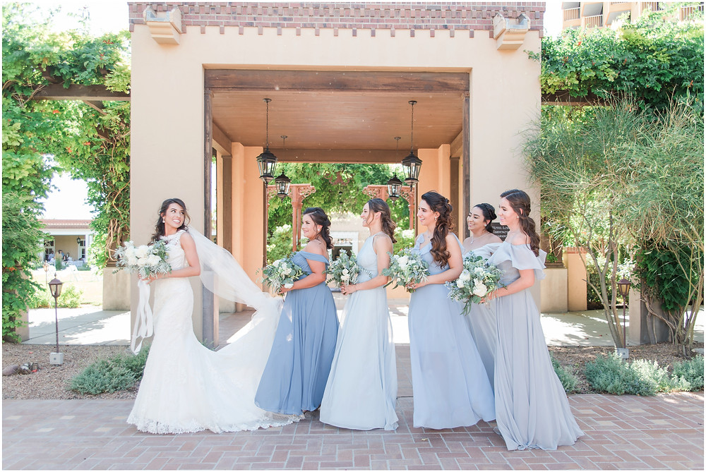 elegant dusty blue wedding. new mexico wedding photographer. hotel albuquerque wedding. new mexico bride. mismatched bridesmaids