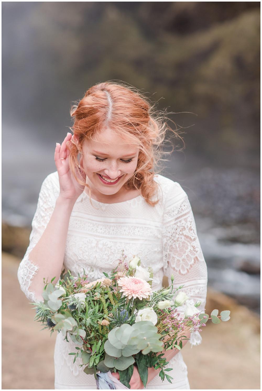 Kvernufoss iceland. Icelandic Elopement inspiration. elopement at Icelandic waterfall. Icelandic bride
