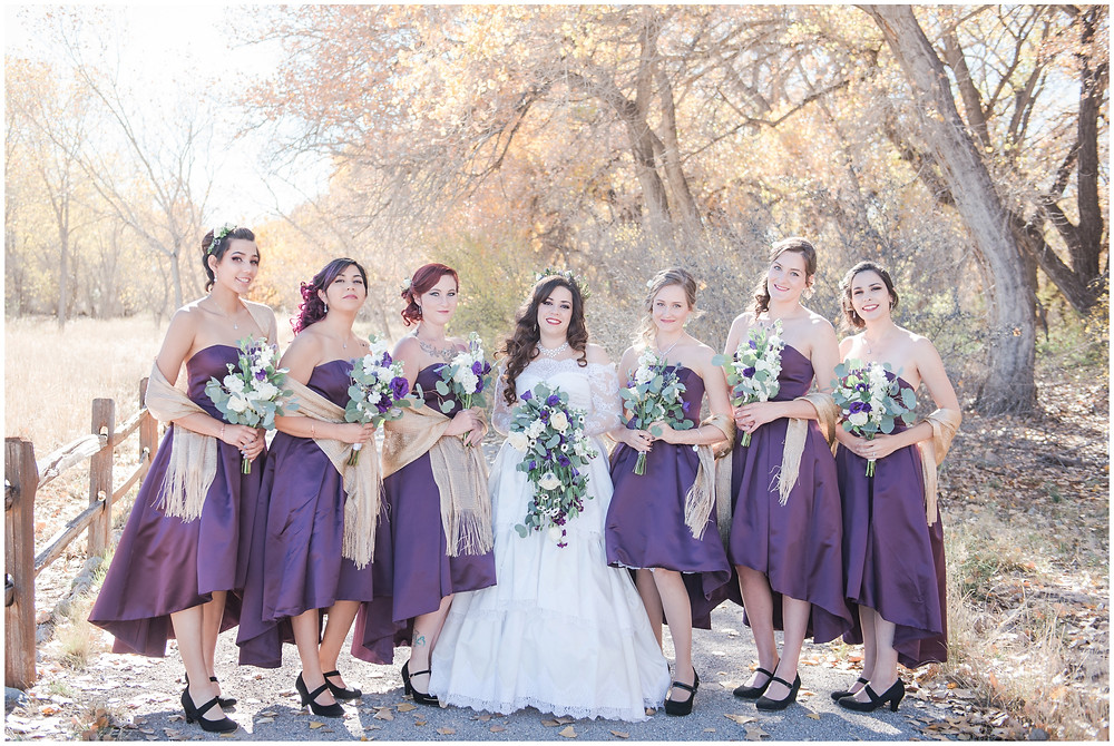 Fall wedding. Wedding at Hyatt Tamaya. Winter Wedding. Long Sleeve Wedding Dress, Purple Wedding. outdoor wedding in New Mexioco. New Mexico Wedding Photography. maura jane photography. mountain wedding photos. purple wedding bouquet
