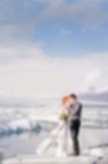wedding elopement in Iceland couple on iceberg