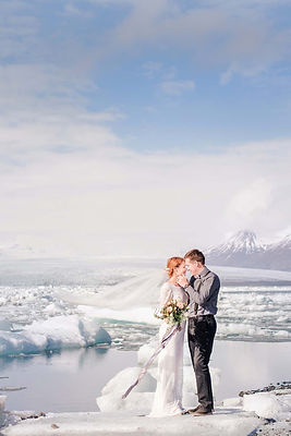 wedding elopement in Iceland couple on iceberg