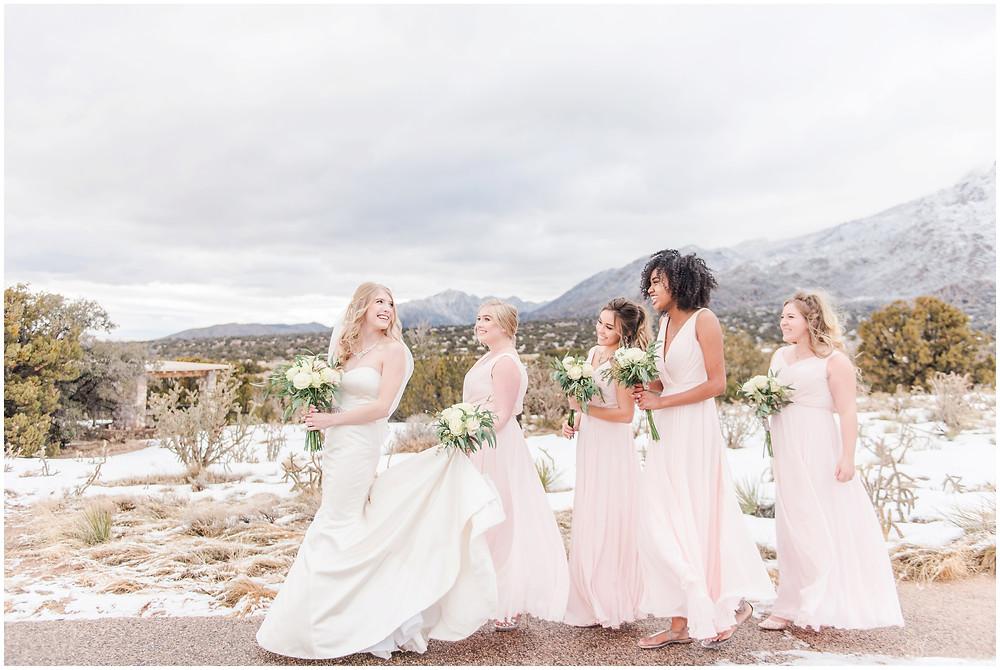 Winter Wedding. Mountain Wedding. Snowy wedding. Navy blue groomsmen, pink bridesmaids, strapless wedding dress. Navy and