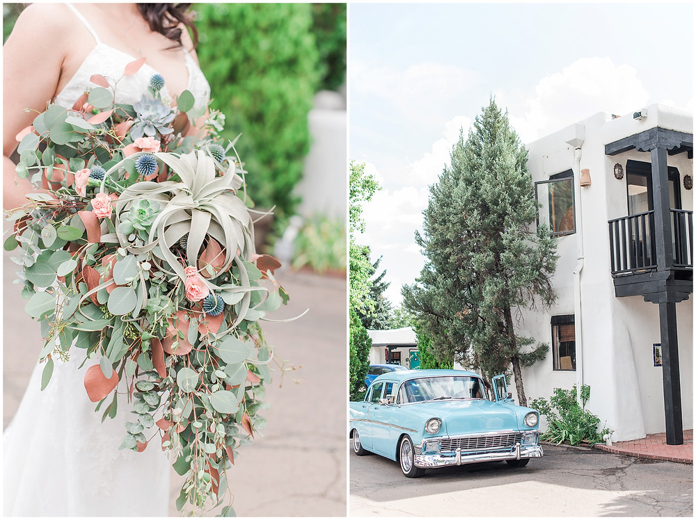El Ray Court Wedding. El Ray Court Santa Fe. Santa Fe Wedding. Santa Fe Wedding Photographer. New Mexico Wedding. New Mexico Wedding Photographer. Lace Wedding Dress. Strapless Wedding Dress. First Look Pictures. Vintage Wedding Dress. Classic Bride. Glam Bride. Elegant Bride. Vintage Bride. Southwestern Wedding. Southwestern Bride. Kate Spade Wedding. Trendy Bride. Trendy Wedding. Garden Wedding. Trendy Bouquet. Desert Bouquet. Messy Bouquet. Classic Car. Classic Car Wedding.