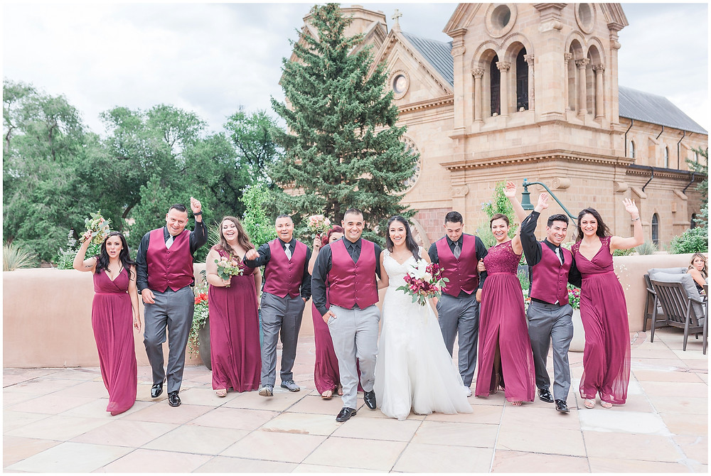 New Mexico wedding photographer. Santa fe wedding photographer. Albuquerque wedding photographer. Maura Jane Photography. La Fonda santa fe wedding. Santa fe destination wedding. Mexican fiesta wedding. Long Veiled Bride. Cathedral Veil Bride. Hair down Bride. Burgundy wedding colors. St Francis Santa Fe Wedding.