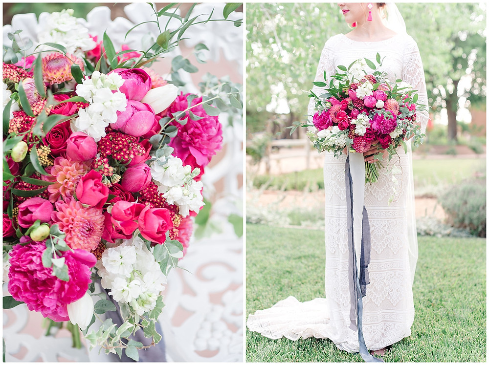 new mexico wedding bouquet with bright pink flowers