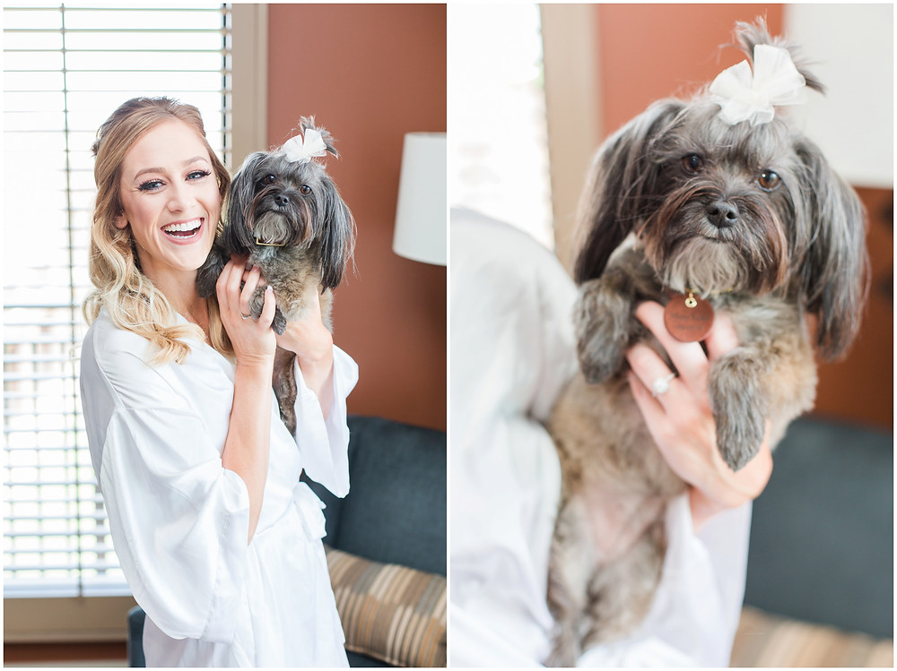 Wedding at Hyatt Tamaya. Outdoor wedding New Mexco. New Mexico Wedding photographer. maura Jane photography. bride and her dog