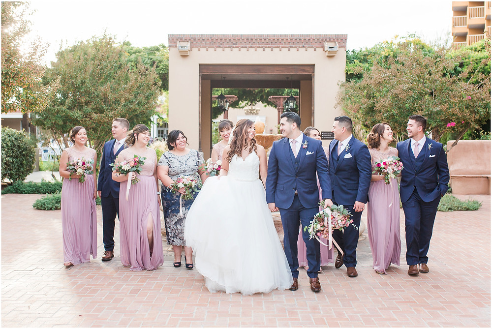 wedding at hotel albuquerque. new mexico wedding. outdoor wedding new mexico. albuquerque wedding. new mexico wedding photographer. Maura jane photography. Pink wedding. summer wedding. pink wedding bouquet. pink bridesmaids dresses. navy groomsmen