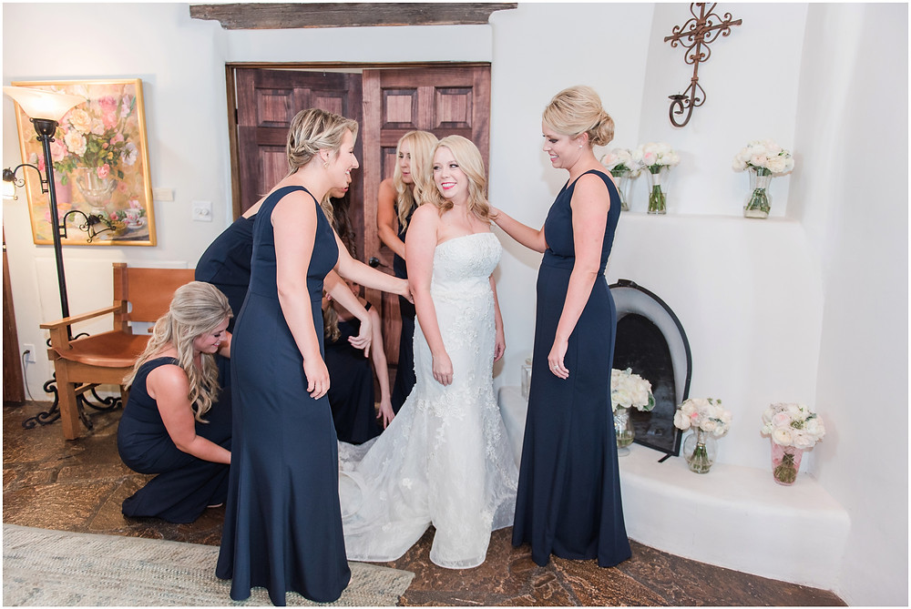 Wedding at La Posada. Santa Fe Wedding. Maura Jane Photography. New Mexico Wedding Photographer. Elegant wedding. Outdoor ceremony. Outdoor reception. bridesmaids