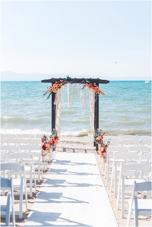 Destination Wedding Photographer. Lake Tahoe wedding. Lake Tahoe elopement. beach wedding. wedding arbor.