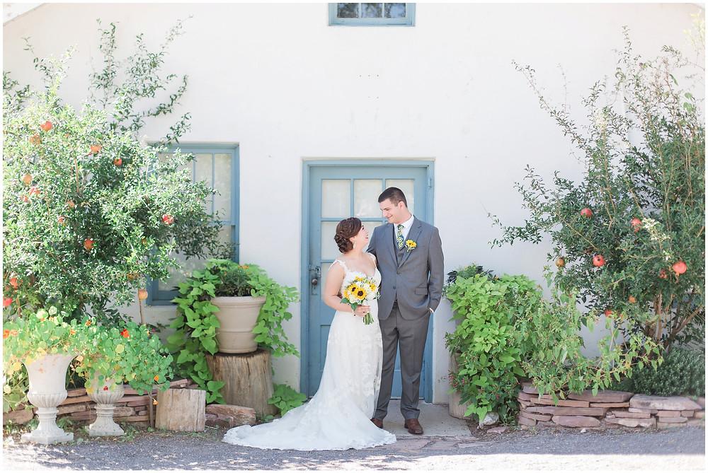 New Mexico Wedding Venue. Albuquerque Wedding Venue.Los Poblanos Wedding Venue. Albuquerque Wedding Photographer. New Mexico Wedding Photographer. Los Poblanos Lavender Farm. Trendy Wedding. Sunflower Bouquet.