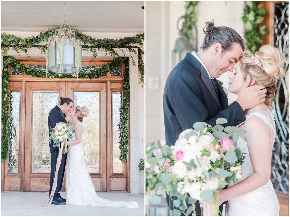 bride and groom portraits in Albuquerque. Groom with man bun. bridal tiara. Private estate wedding. bridal bouqet with silk ribbon