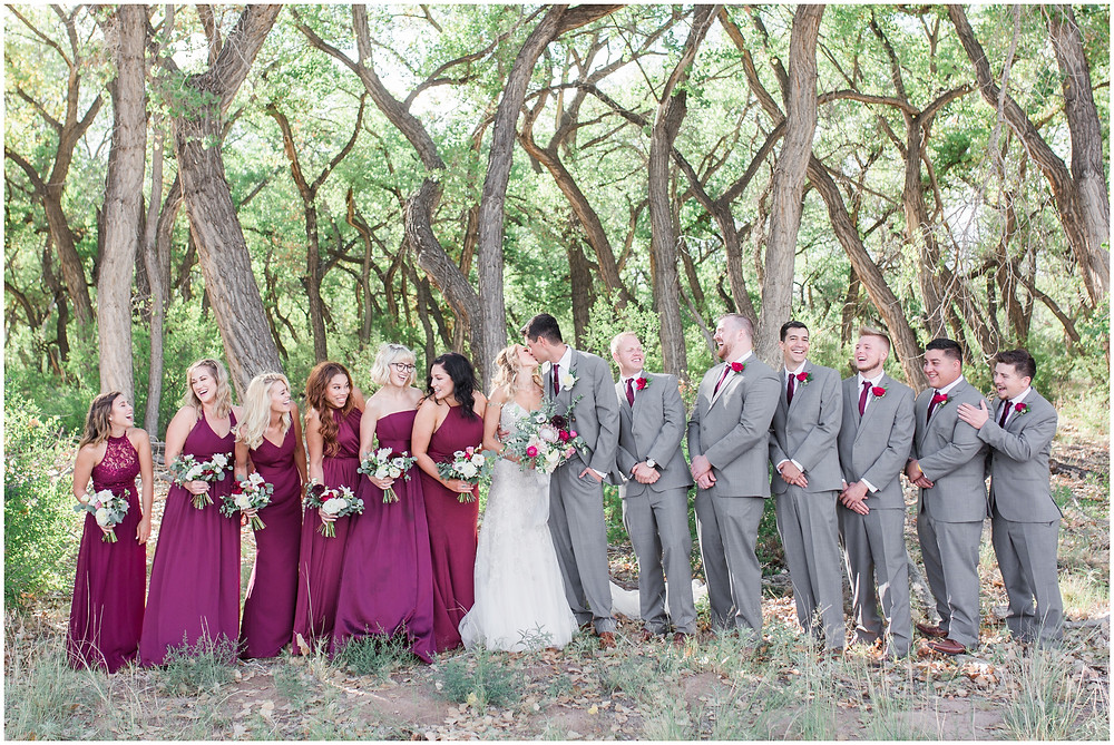 Wedding at Hyatt Tamaya. Outdoor wedding New Mexco. New Mexico Wedding photographer. maura Jane photography. burgundy wedding. bridal party