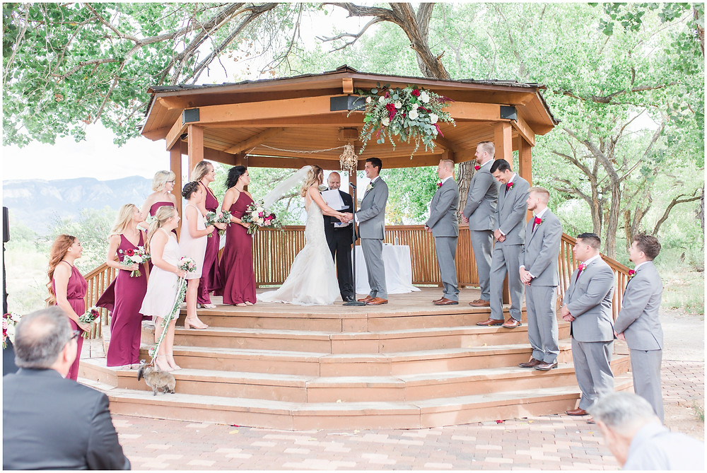 Wedding at Hyatt Tamaya. Outdoor wedding New Mexco. New Mexico Wedding photographer. maura Jane photography. burgundy wedding. outdoor ceremony. wedding gazebo