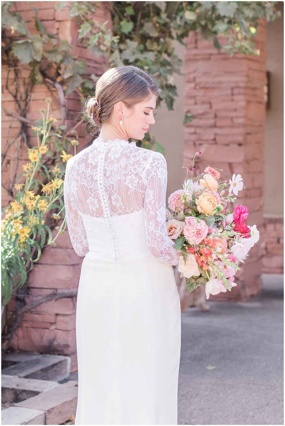 Lace Wedding Dress. Elegant Wedding Dress. Classic Wedding Dress. Colorful bouquet. Wildflower Bouquet. Messy Bouquet. Trendy Bouquet. 2020 Bouquets. Lace Wedding Dress. Classic Wedding Dress. Classic Bride. Trendy Bride. Santa Fe Wedding. Santa Fe Wedding Photographer. New Mexico Wedding. New Mexico Wedding Photographer. La Posada Wedding. La Posada Santa Fe.