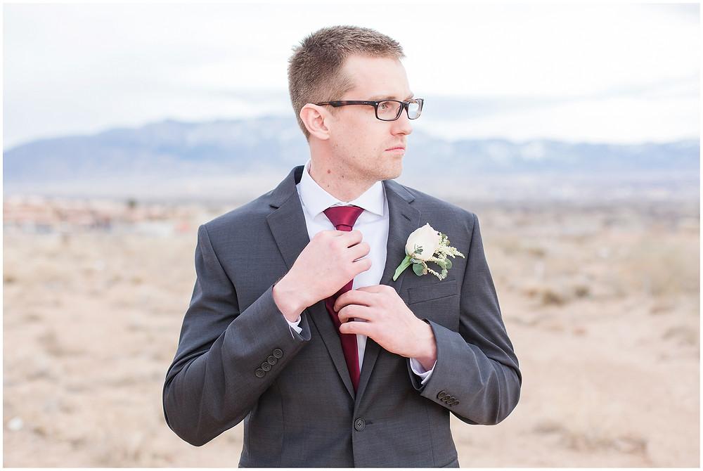 New Mexico wedding photographer. Albuquerque wedding photographer. Noahs event venue wedding. Pink and burgundy wedding. outdoor wedding portraits. bridal portraits. photos of groom.