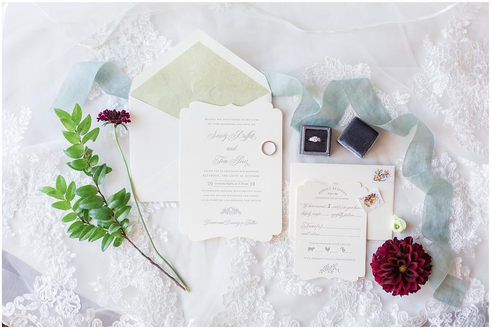 Los Poblanos wedding. summer wedding. wedding invitations. New mexico wedding. Outdoor wedding. Maura Jane Photography.