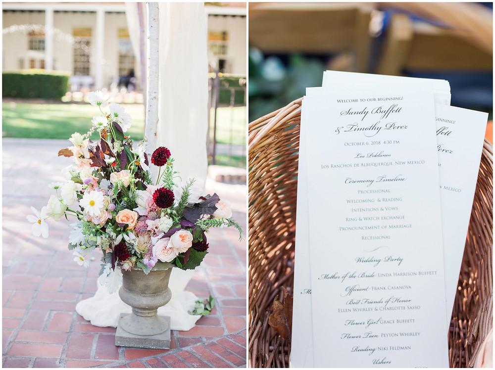 Los Poblanos wedding. summer wedding. wedding invitations. New mexico wedding. Outdoor wedding. Maura Jane Photography. ceremony flowers. flower centerpiece.