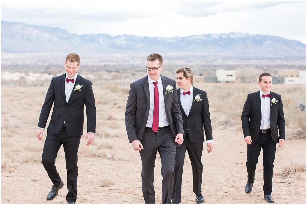 New Mexico wedding photographer. Albuquerque wedding photographer. Noahs event venue wedding. Pink and burgundy wedding. outdoor wedding portraits. bridal portraits. bridal hair and makeup. burgundy groomsmen.