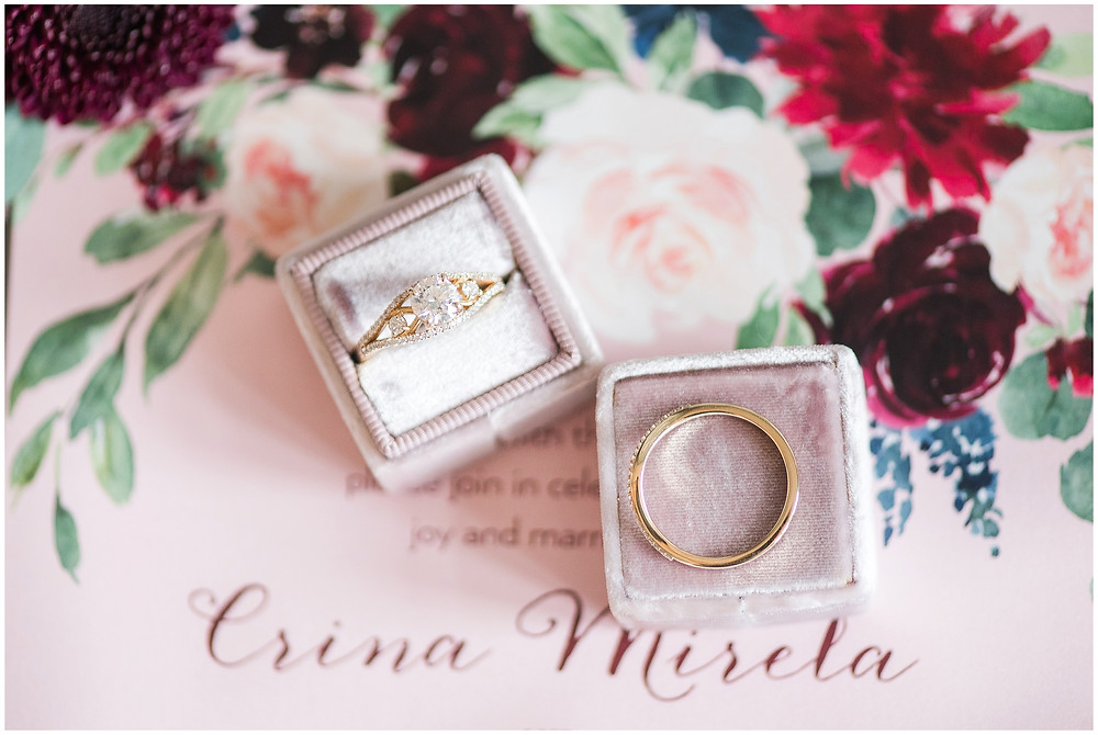 New Mexico wedding photographer. Albuquerque wedding photographer. Noahs event venue wedding. Pink and burgundy wedding. outdoor wedding portraits. yellow gold engagement ring. wedding bands