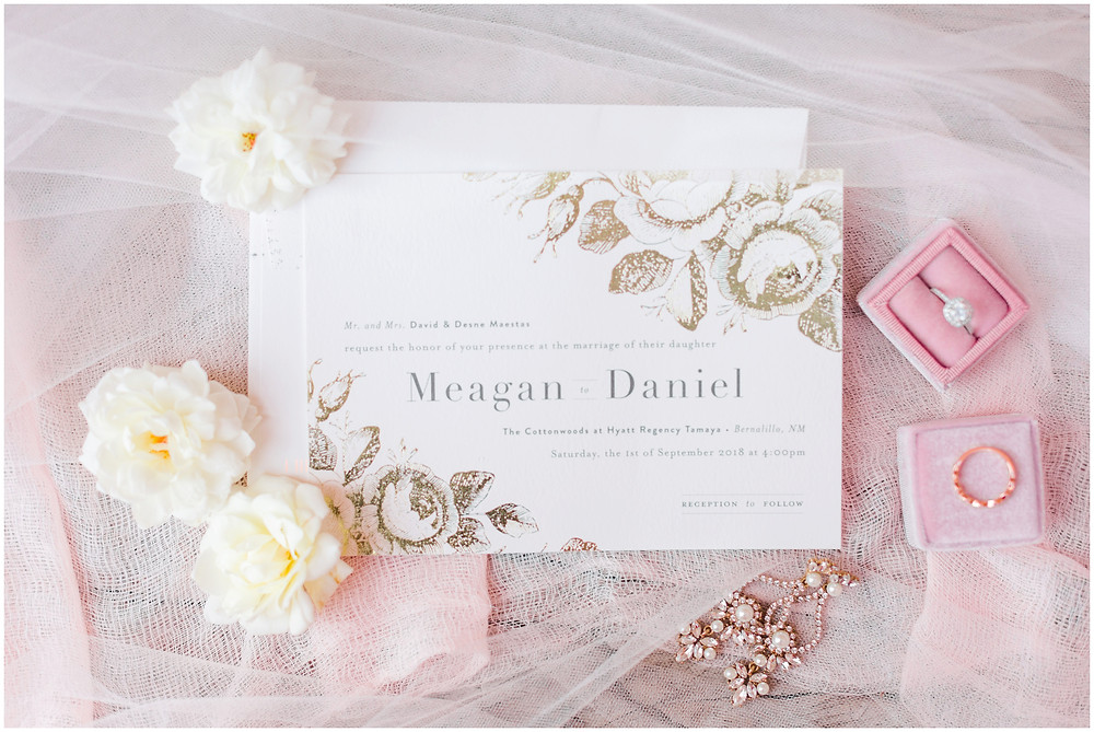 Wedding at Hyatt Tamaya. Outdoor wedding New Mexco. New Mexico Wedding photographer. maura Jane photography. gold wedding invitations
