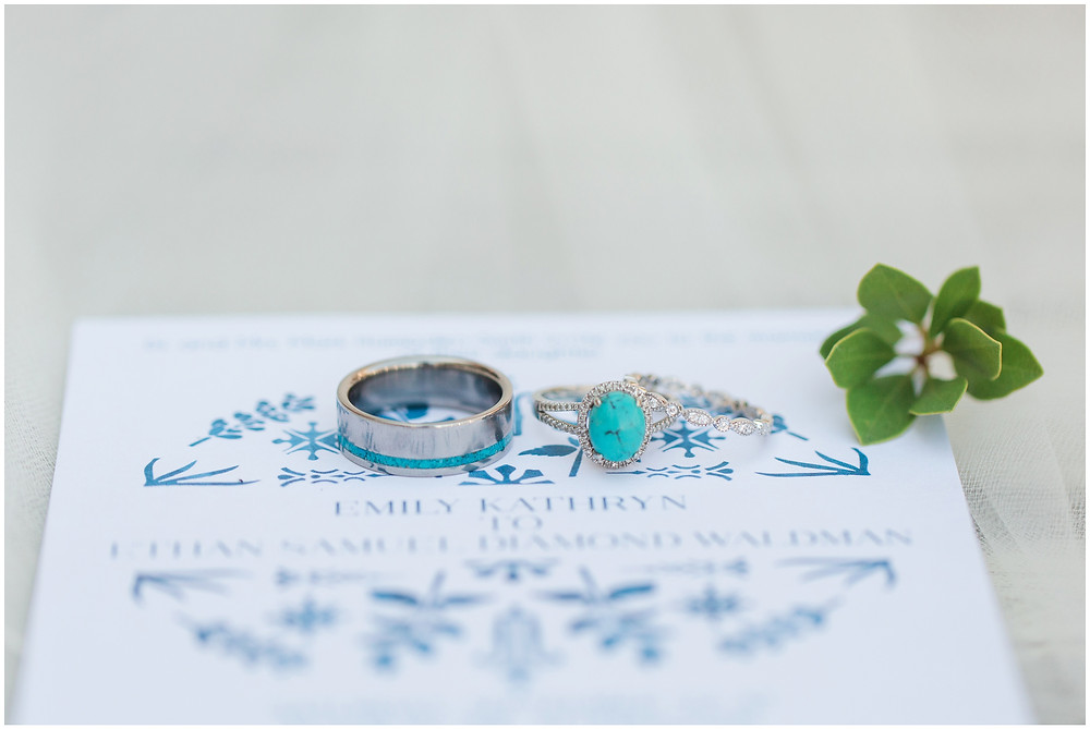 Wedding at Los Poblanos. Summer wedding New mexico. Outdoor wedding venue albuquerque. New Mexico Wedding Photographer. turquoise wedding rings