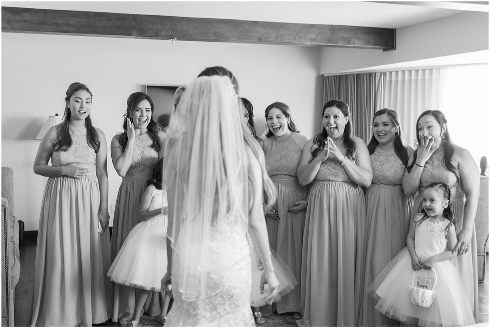 bridesmaids first look with bride