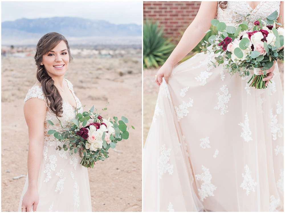 New Mexico wedding photographer. Albuquerque wedding photographer. Noahs event venue wedding. Pink and burgundy wedding. outdoor wedding portraits. bridal portraits. bridal hair and make up.