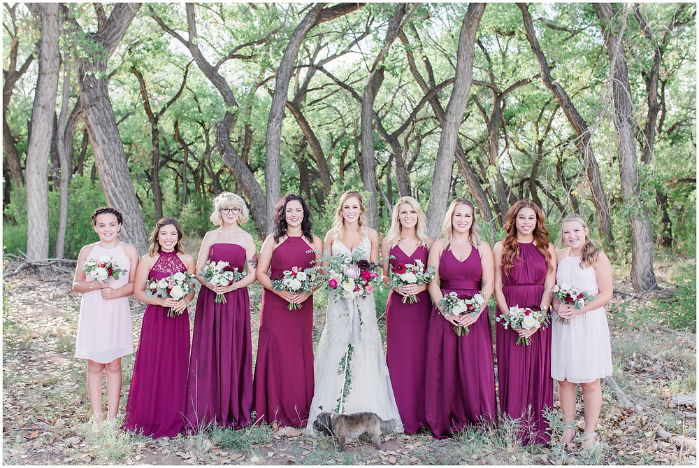Wedding at Hyatt Tamaya. Outdoor wedding New Mexco. New Mexico Wedding photographer. maura Jane photography. burgundy wedding. burgundy bridesmaids