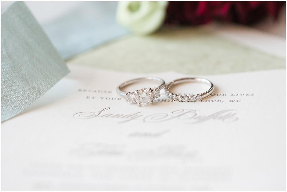 Los Poblanos wedding. summer wedding. wedding invitations. New mexico wedding. Outdoor wedding. Maura Jane Photography. three stone engagement ring