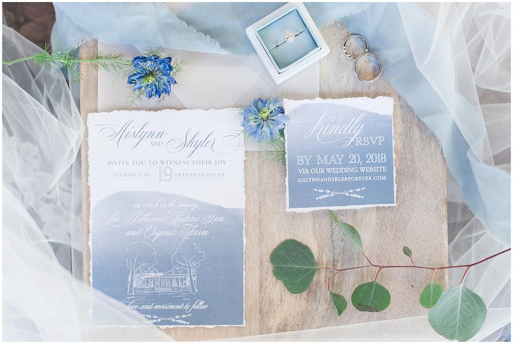 Wedding at Los poblanos. dusty blue wedding. new mexico wedding venue. outdoor wedding. spring wedding. albuquerque wedding. new mexico wedding photographer. maura jane photography. wedding invitations.