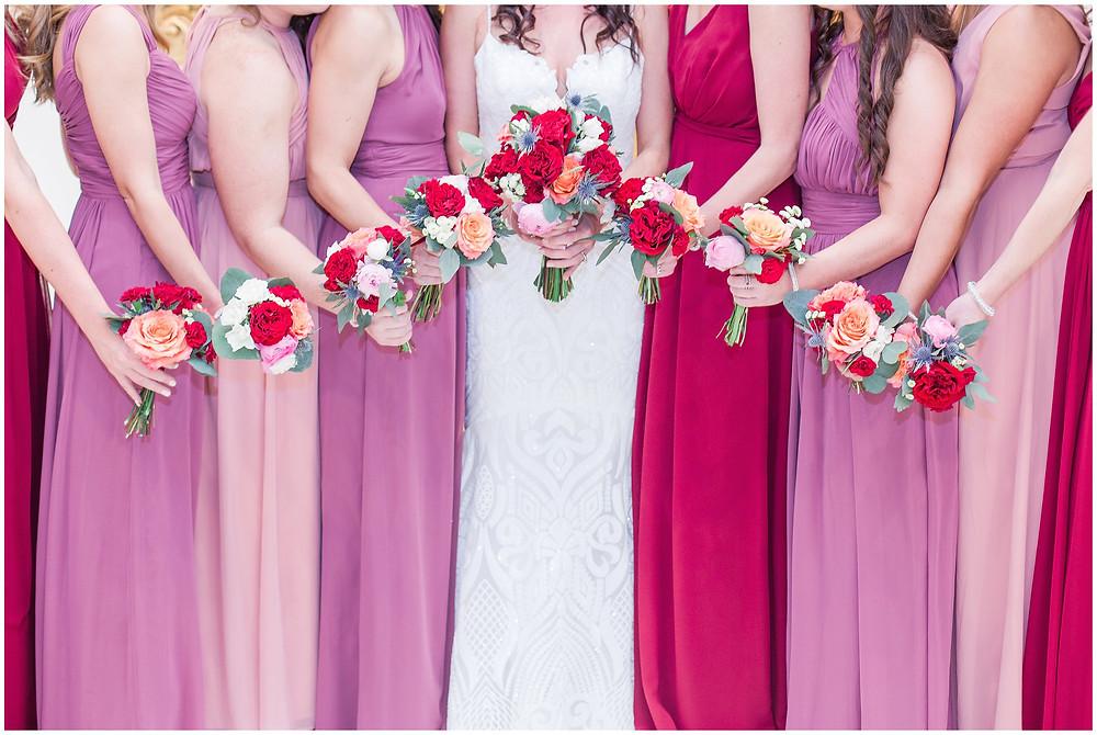 El Dorado Santa Fe. El Dorado Wedding. Santa Fe Wedding. Santa Fe Wedding Photographer. New Mexico Wedding. New Mexico Wedding Photographer. Lace Wedding Dress. Bold Bouquet. Bright Bouquet. Rose Bouquet. Trendy Bouquets. Pink and Red Bridesmaids Dresses.