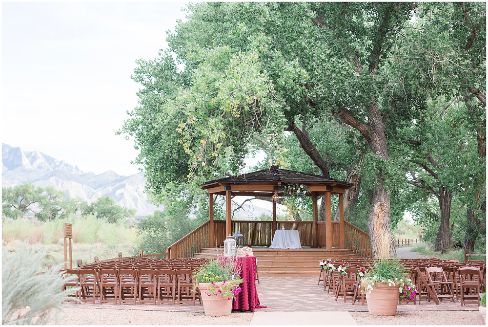 Wedding at Hyatt Tamaya. Outdoor wedding New Mexco. New Mexico Wedding photographer. maura Jane photography. burgundy wedding. wedding gazebo