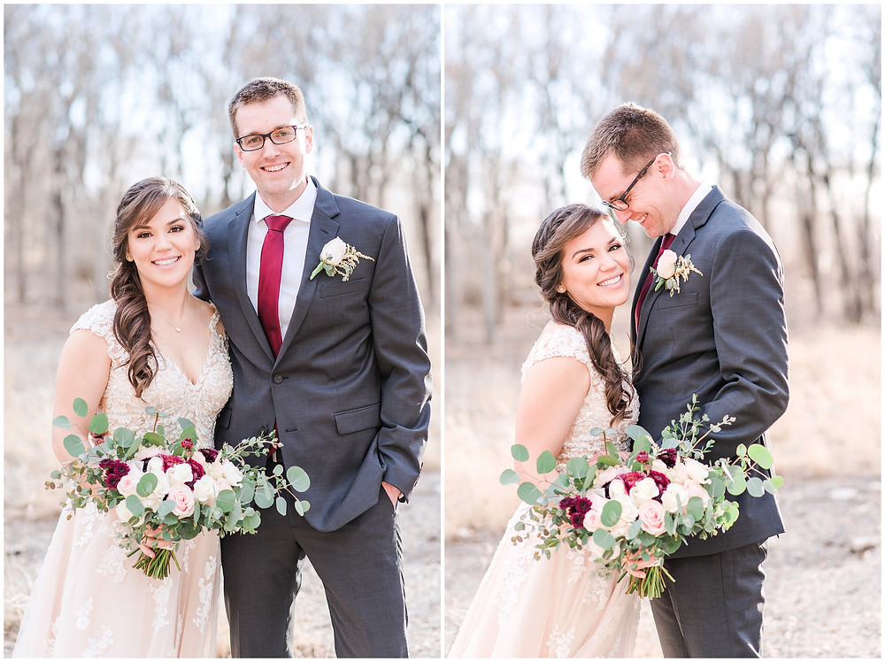 New Mexico wedding photographer. Albuquerque wedding photographer. Noahs event venue wedding. Pink and burgundy wedding. outdoor wedding portraits. bridal portraits. bridal hair and makeup. bride and groom. wedding photos. wedding couple.