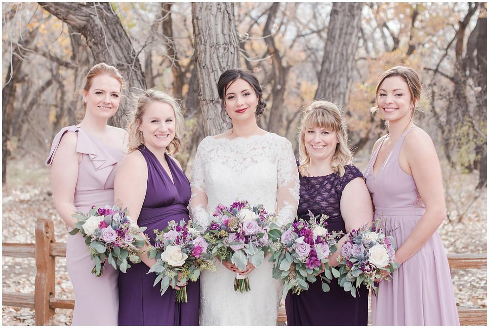 Wedding at Tamaya. New Mexico Wedding Photographer. Fall Wedding in Albuquerque. Maura Jane Photography. Long sleeve wedding dress. Winter wedding. Purple wedding bouquet. Mountain wedding photo. Fall wedding.