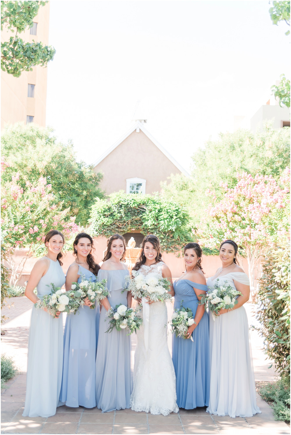 elegant dusty blue wedding. new mexico wedding photographer. hotel albuquerque wedding. new mexico bride