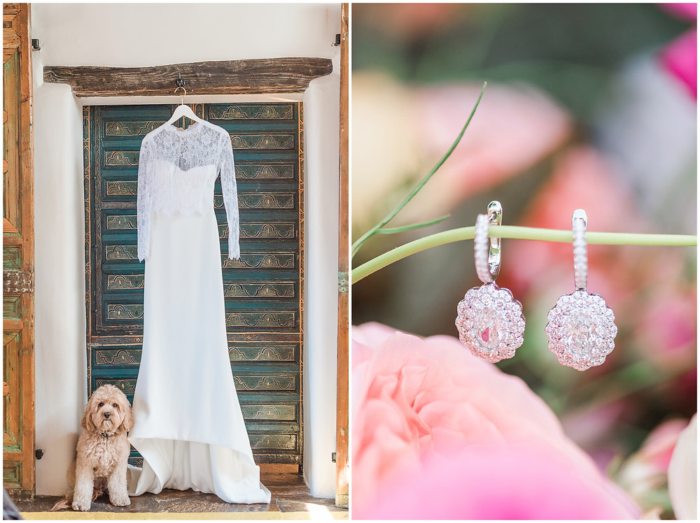 Long sleeved wedding dress. Pets in weddings. Goldendoodle. Goldendoodle in wedding. Asian inspired wedding. La Posada Wedding. La Posada Santa Fe Wedding.