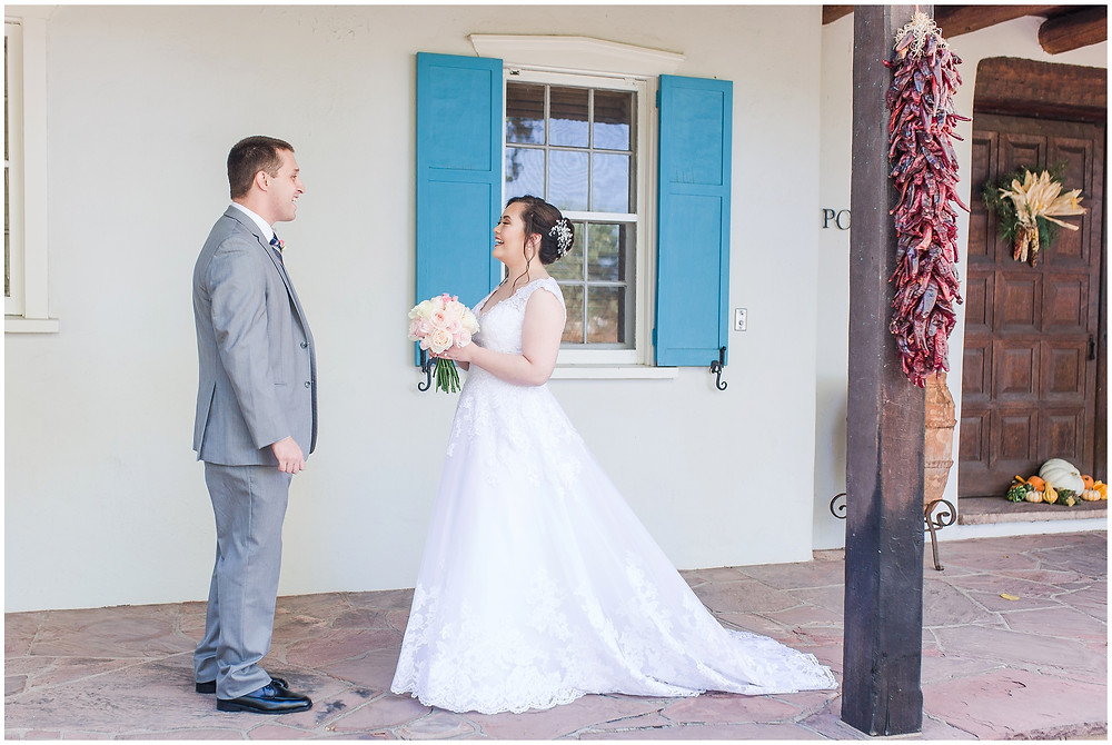 Los Poblanos wedding venue. Los Poblanos wedding. New Mexico wedding photographer. Albuquerque wedding photographer. Chile themed wedding. Ballgown wedding dress. Pink rose bouquet. Elegant bouquet. Classic bouquet.