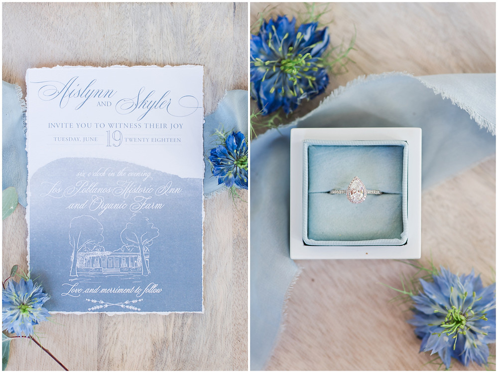 Wedding at Los poblanos. dusty blue wedding. new mexico wedding venue. outdoor wedding. spring wedding. albuquerque wedding. new mexico wedding photographer. maura jane photography. blue wedding invitations. pear shaped engagement ring