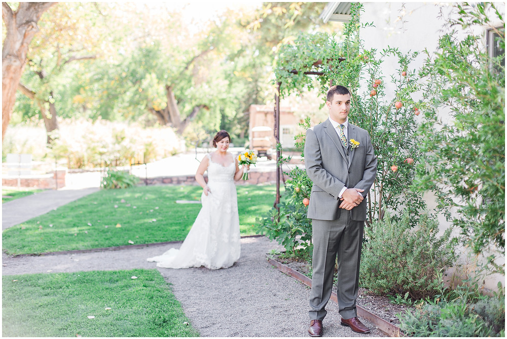 Wedding at Los Poblanos. Summer wedding New mexico. Outdoor wedding venue albuquerque. New Mexico Wedding Photographer. first look photos
