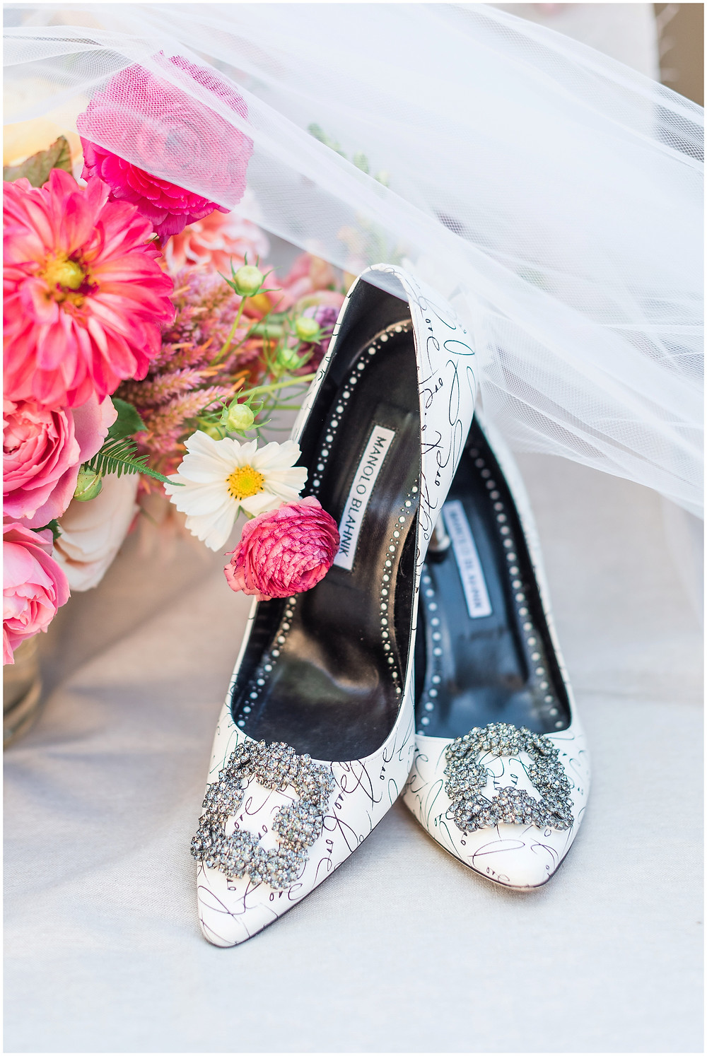 Manolo Blahnik wedding shoes. Long sleeved wedding dress. Pets in weddings. Goldendoodle. Goldendoodle in wedding. Asian inspired wedding. La Posada Wedding. La Posada Santa Fe Wedding.