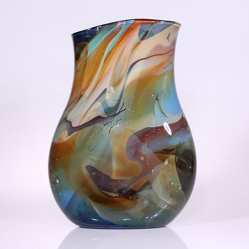 Kimono Vase Flat Blue-Amber