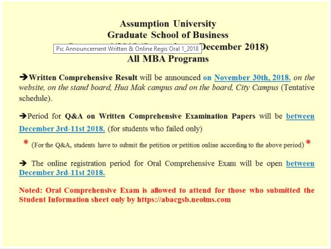 Announcement about Written Comprehensive Exam Result 1/2018
