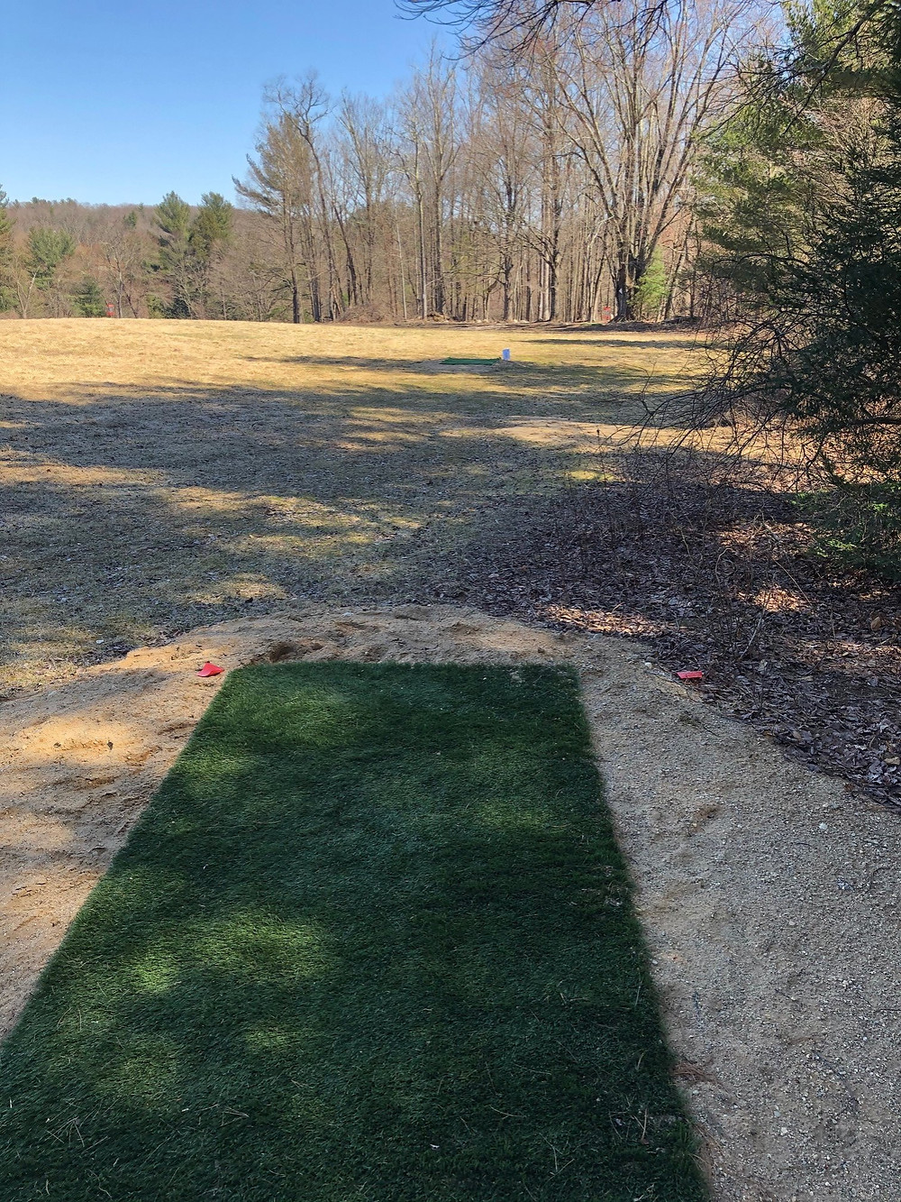 Hole 15 red tee, with green tee up the fairway