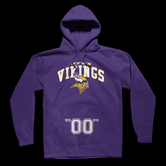 "NFWB VIKINGS TURF HOODIE w/ ""YOUR PLAYER NUMBER"" Pouch"