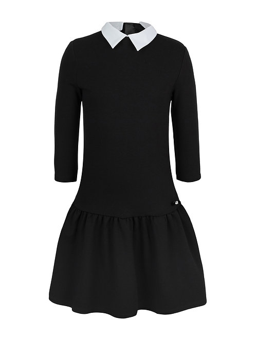 Платье черное трикотажное, 134 рост