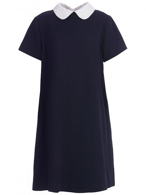 Платье синее текстильное, 140 рост