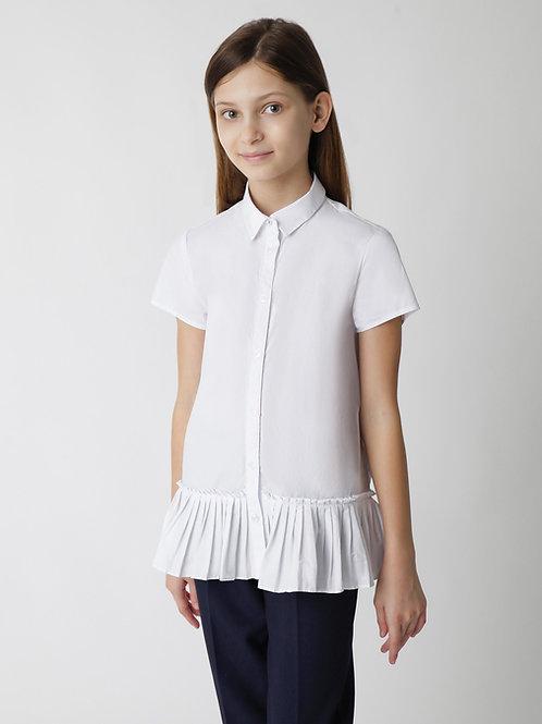 Блузка текстильная белая с коротким рукавом