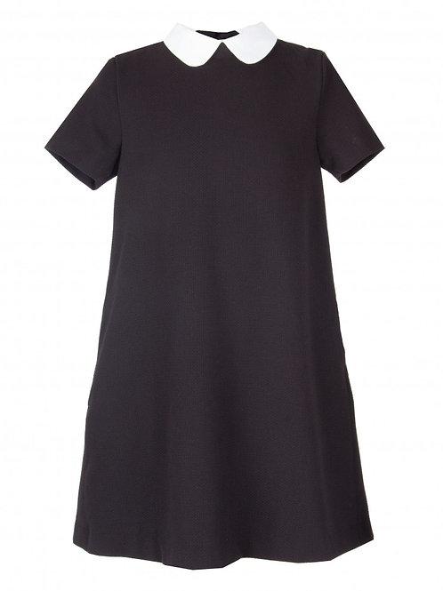 Платье черное текстильное, 122 рост