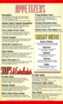 2 - Menu - Appetizers - Prices - 2020 -